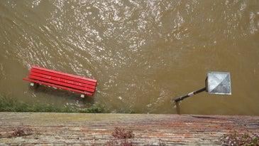 flood water under park bench