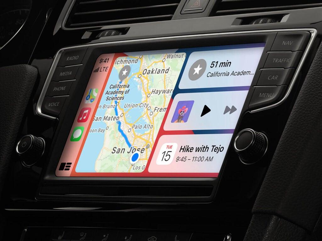 The car dashboard display for Apple CarPlay.
