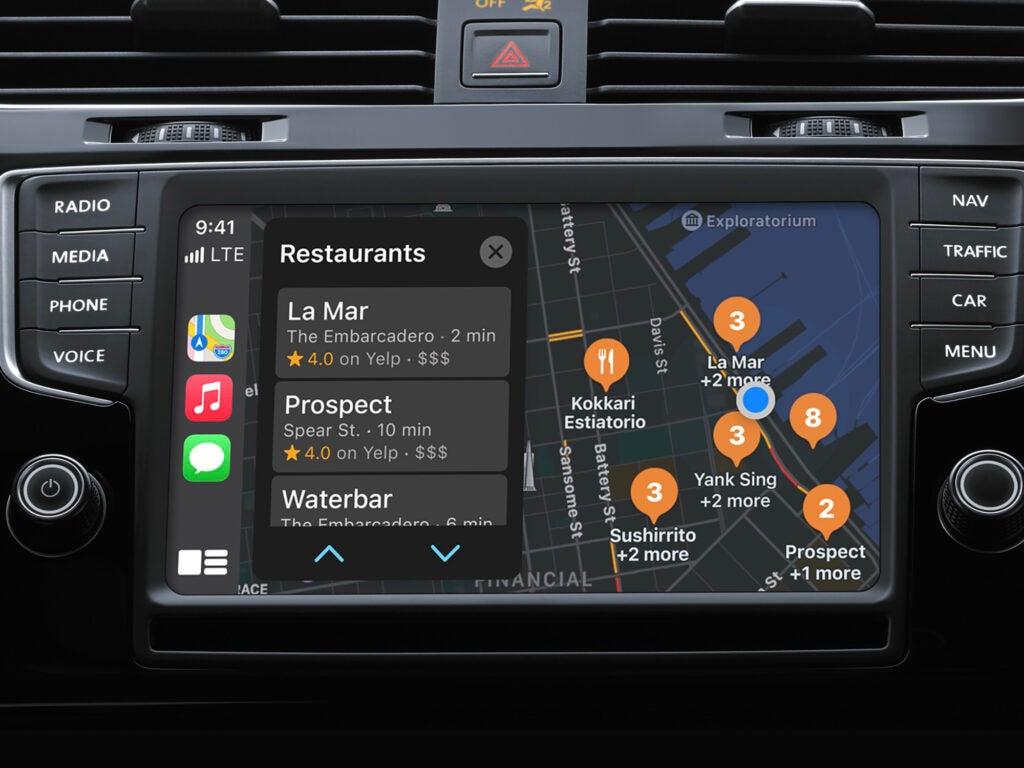 Apple Maps on Apple CarPlay on a car dashboard display.
