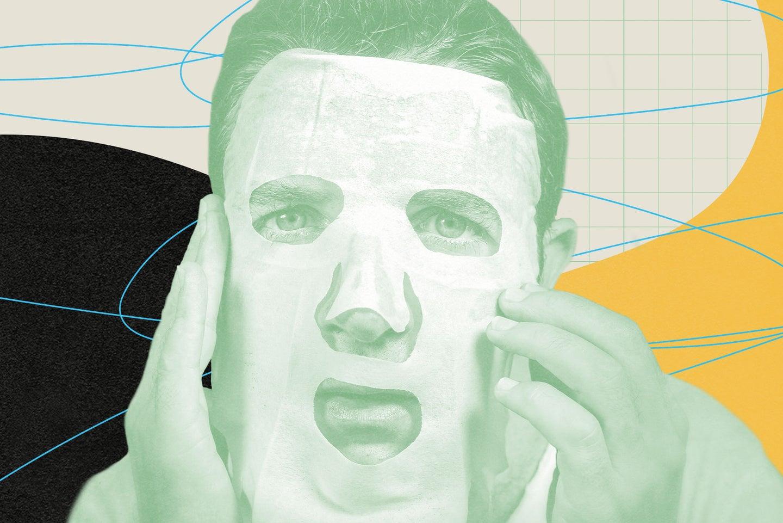 Person applying sheet mask