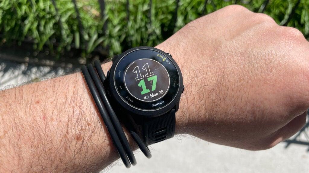 Garmin Forerunner 55 smartwatch on a wrist