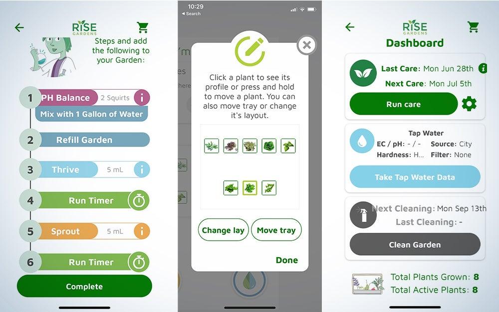Rise Gardens app screencaps