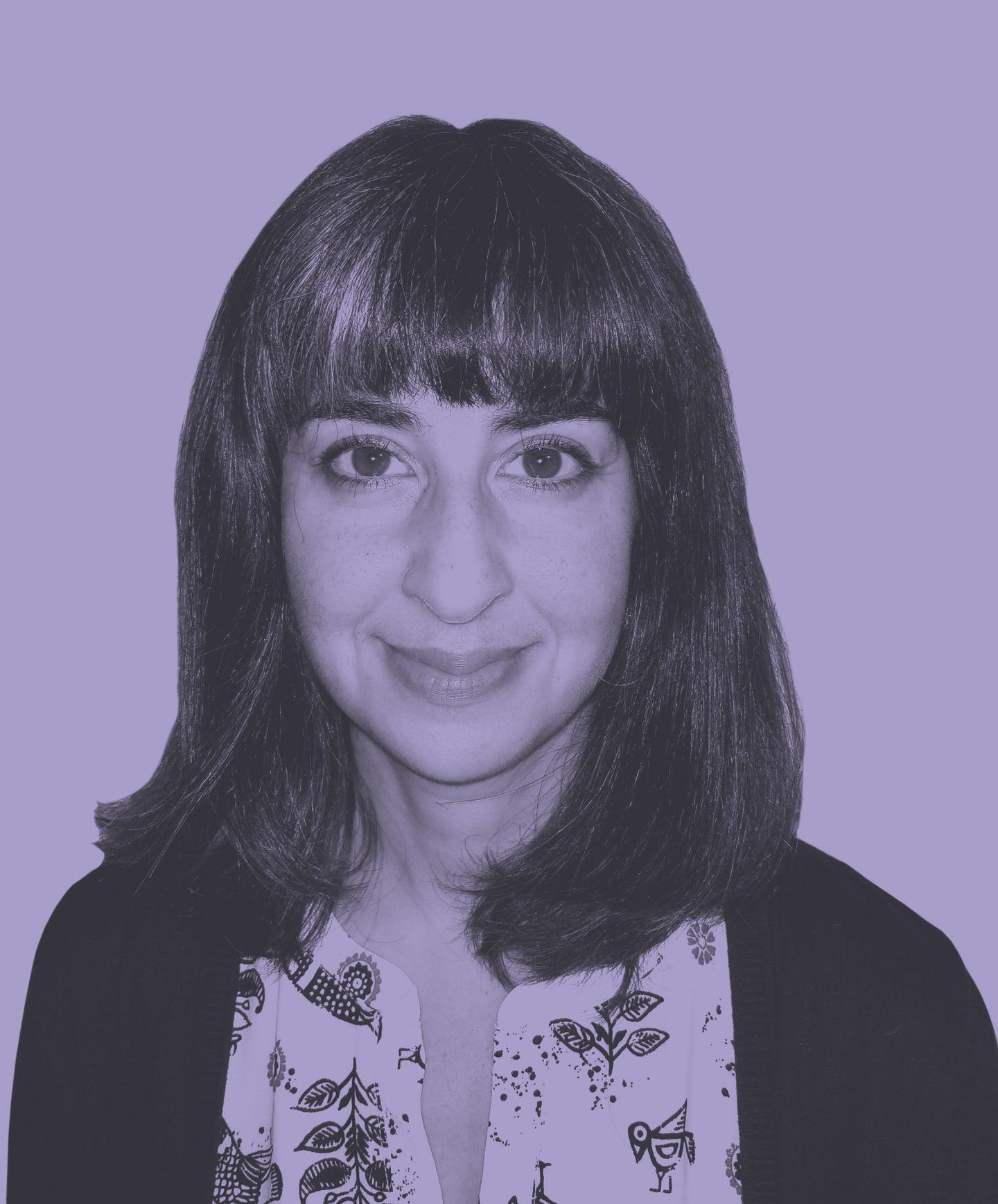 Sarah Theodoroff on a purple background