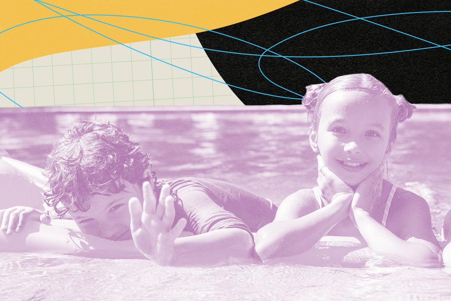 two children swimming on a beach