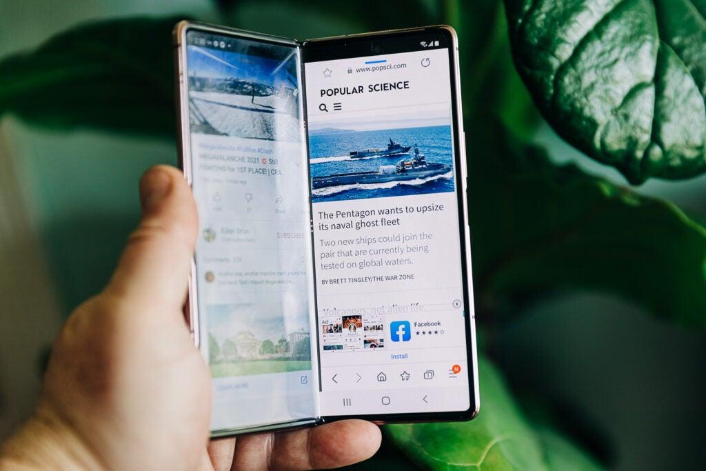 Galaxy Z Fold 2 half-folded