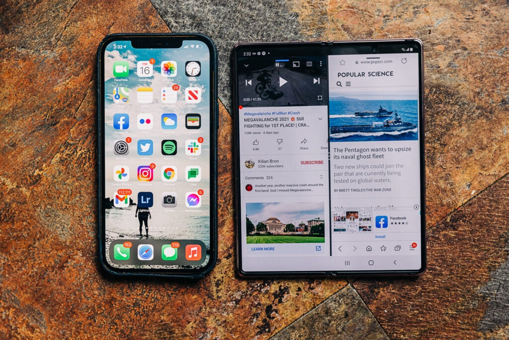 Samsung Galaxy Z Fold 2 compared to iPhone 12 Pro Max
