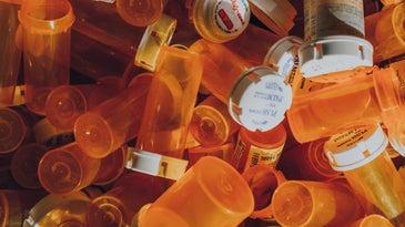 Empty orange pill bottles