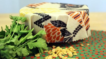 Food wrapped in beeswax wrap