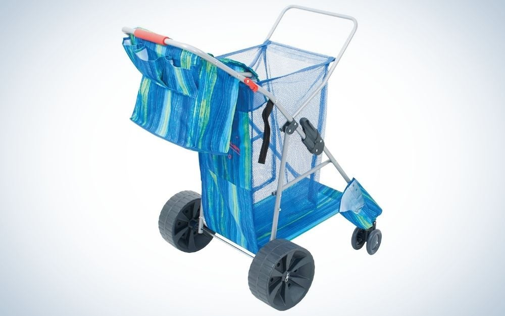 The Rio Deluxe Wonder Wheeler is our pick for best vertical beach wagon.