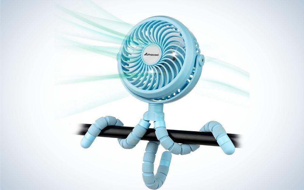 The Amacool Stroller Fan is the best portable stroller fan.