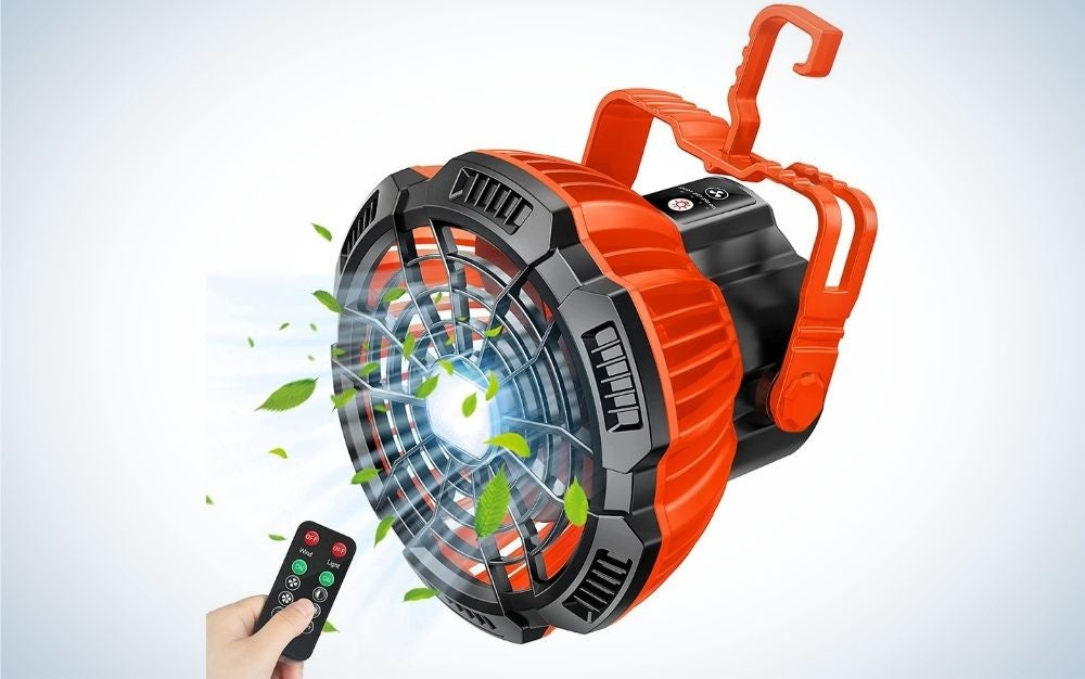 The Fxexblin Camping Fan is our pick for best portable fan for camping.