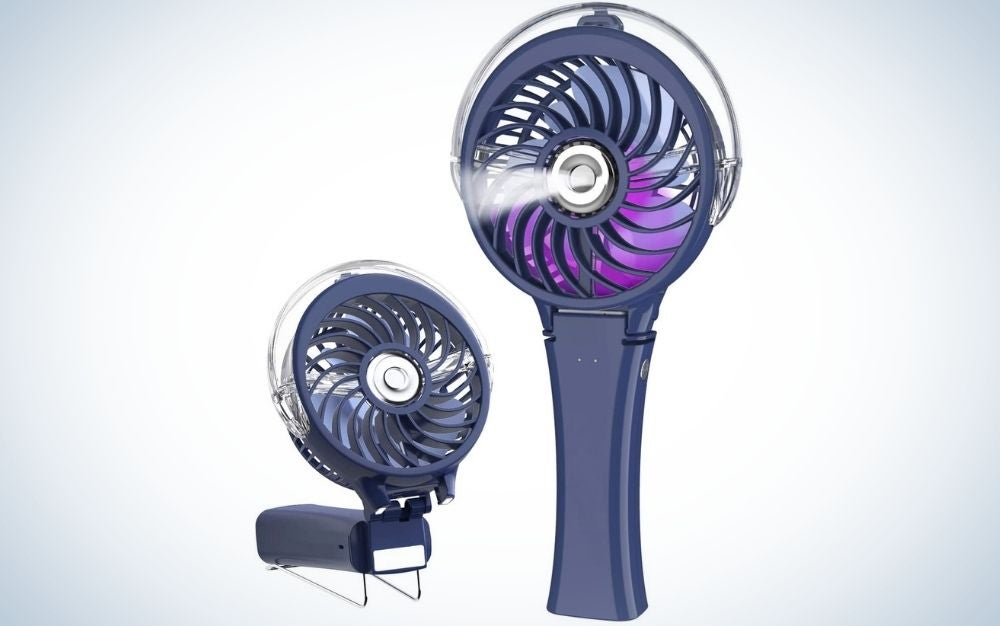 The Handfan Misting fan is our pick for best portable misting fan.