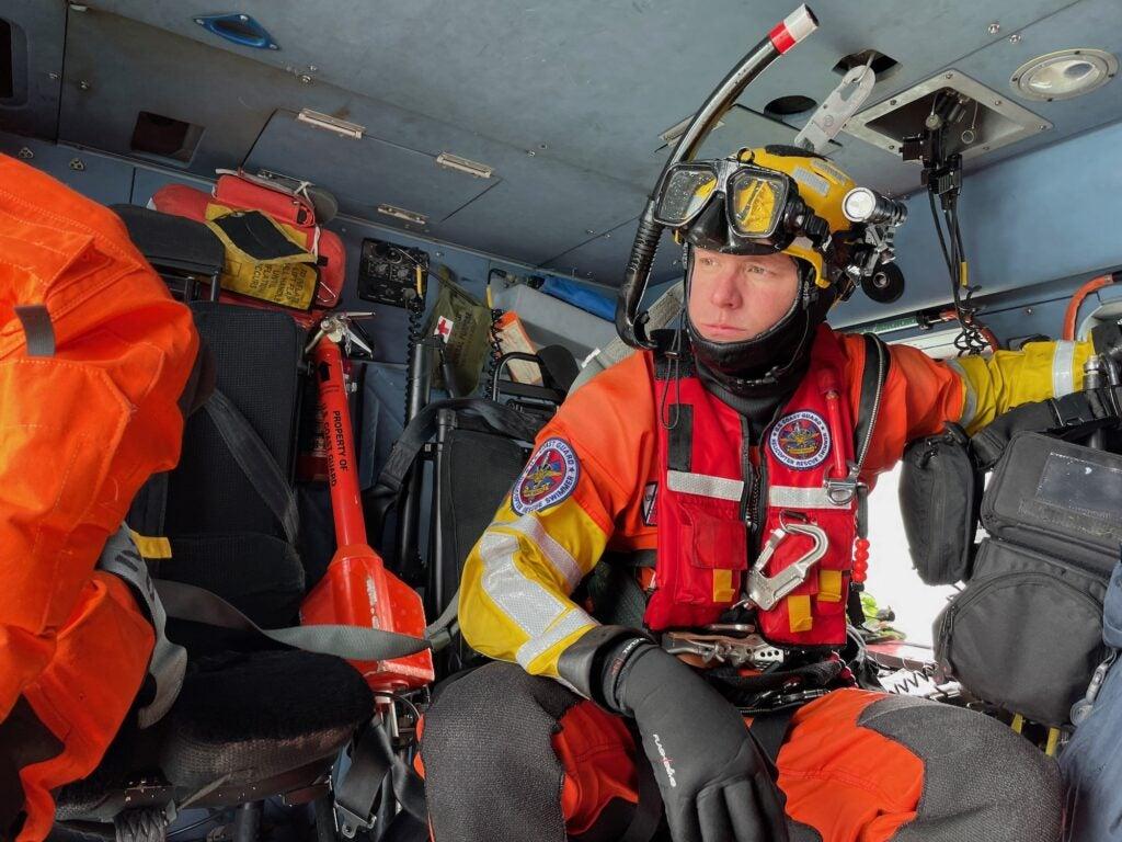 A rescue swimmer in the Coast Guard