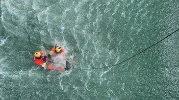 A practice Coast Guard rescue in the ocean