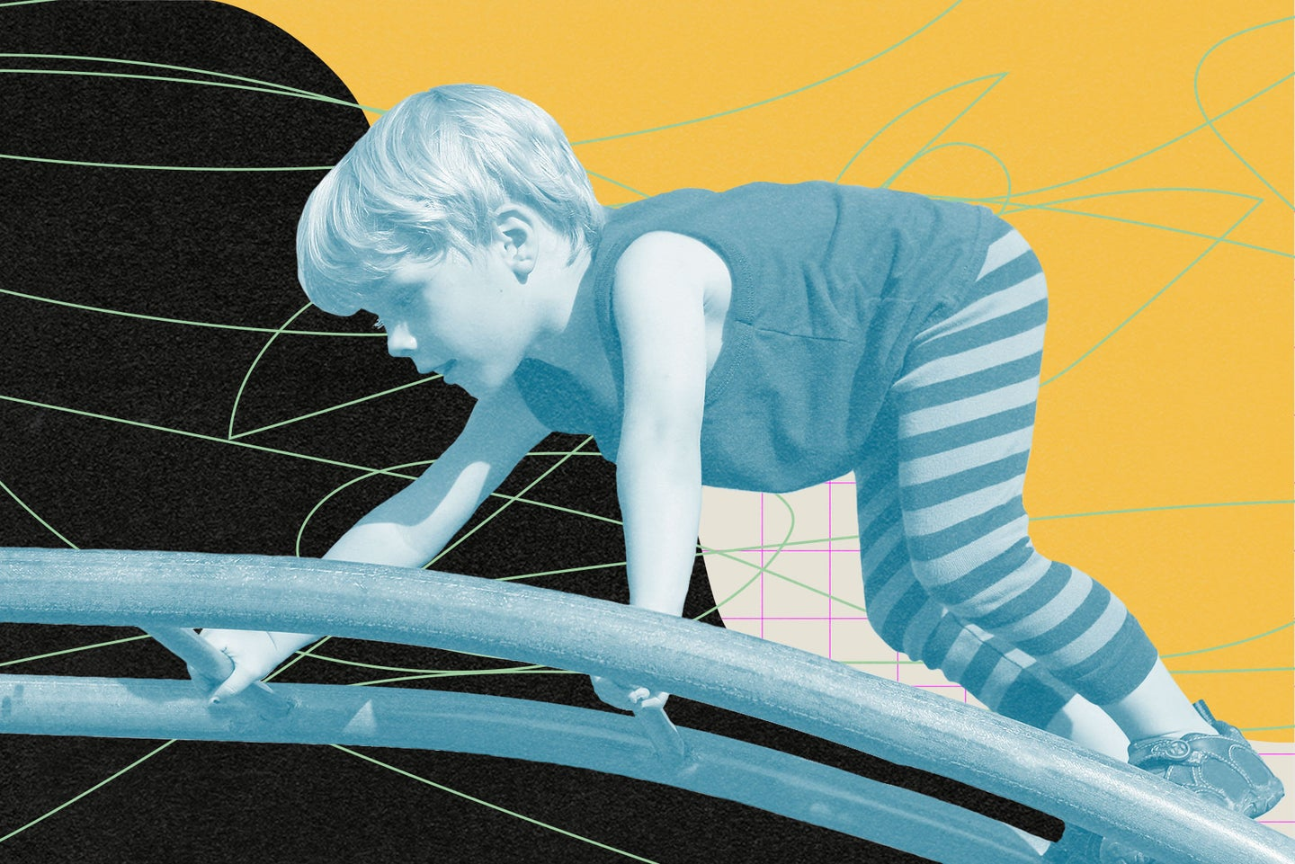 A child wearing a dark t-shirt and striped leggings climbs a playground structure. The child and structure are greyscale against a yellow, beige, black, pink, and green abstract background.