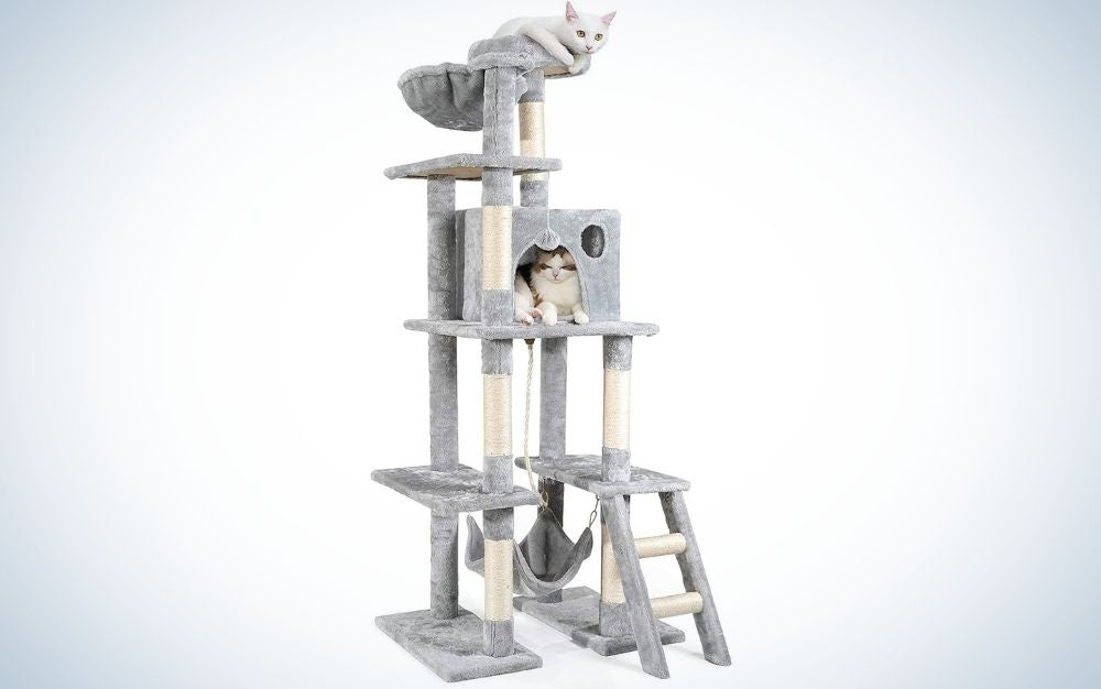 The rabitgoo Cat Tree Tower is the best cat toy for active kitties.