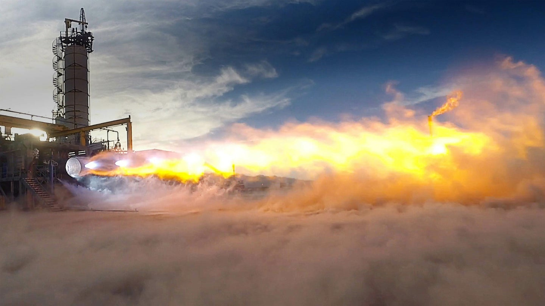 Blue Origin BE-4 space rocket engines firing up