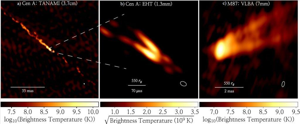 Three images of black hole jets.