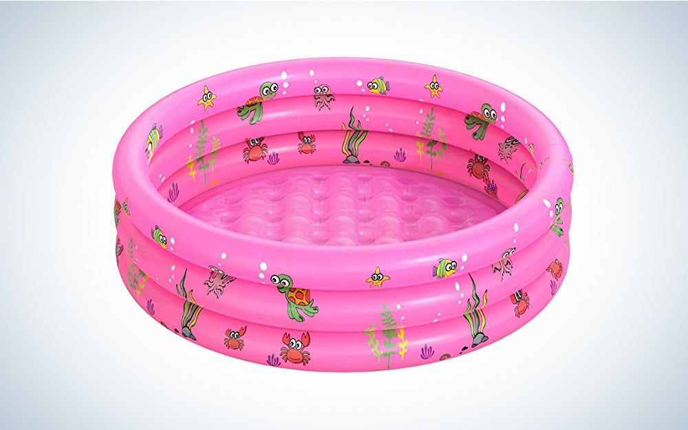 The Garden Round Inflatable Swimming Pool is the best kiddie pool for small yards.