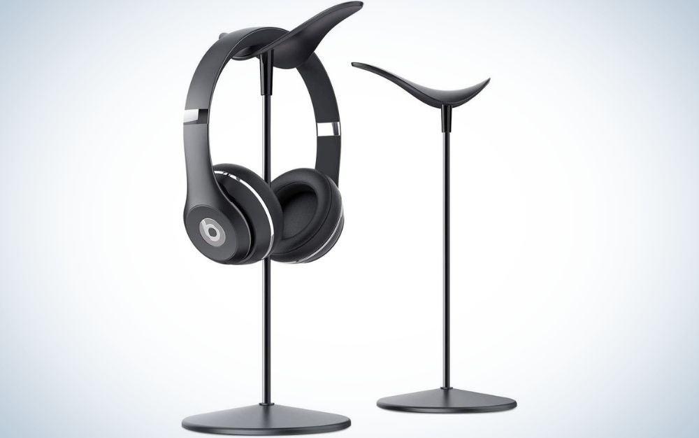 The Lamicall Desk Earphone Stand is the best headphone stand for creatives.