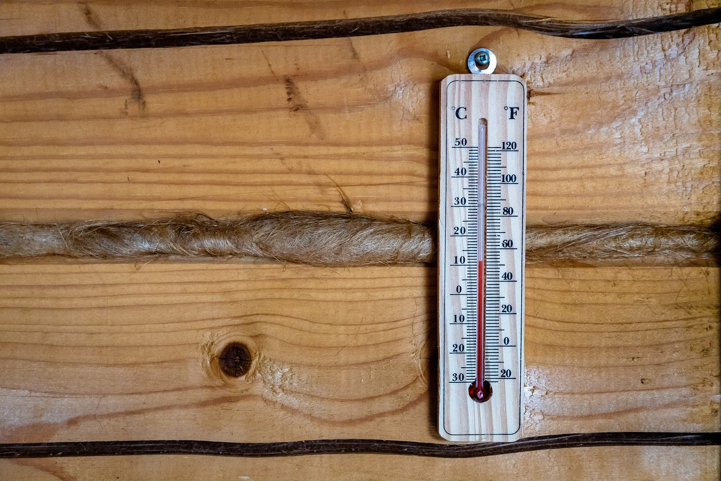 Weather thermometer on wooden wall