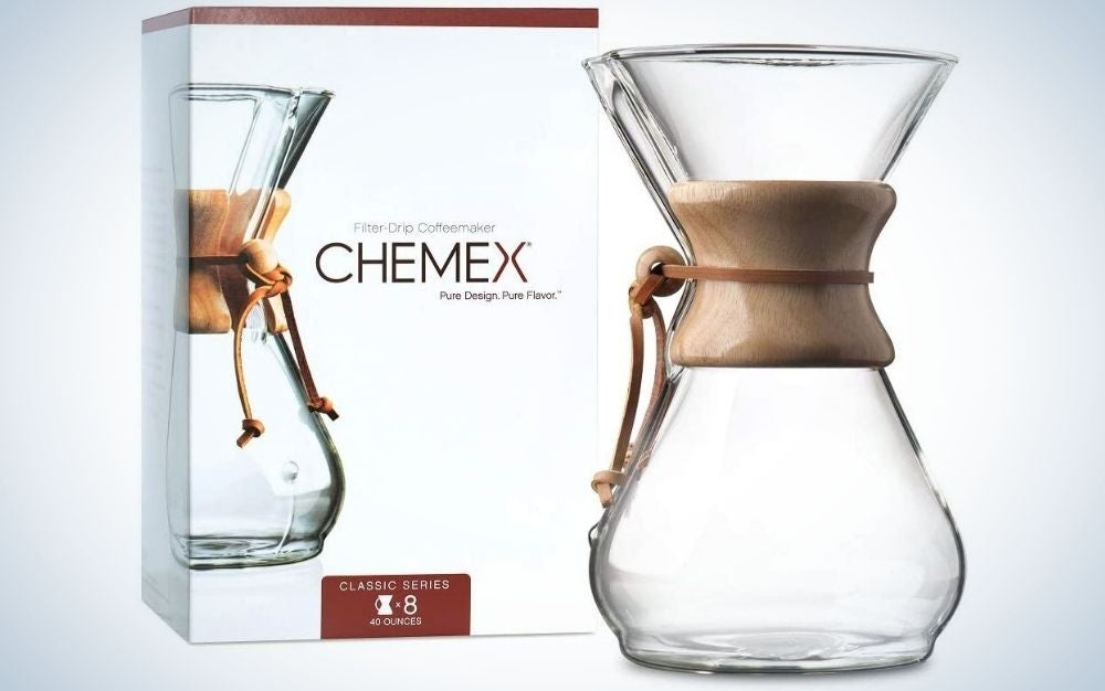 The Chemex Pour-Over Glass Coffee Maker is our pick for best pour over coffee maker.
