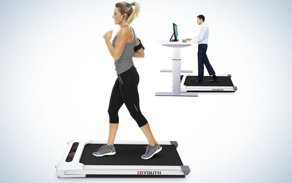 The GoYouth 2 in 1 Under Desk Electric Treadmill is the best overall treadmill desk.