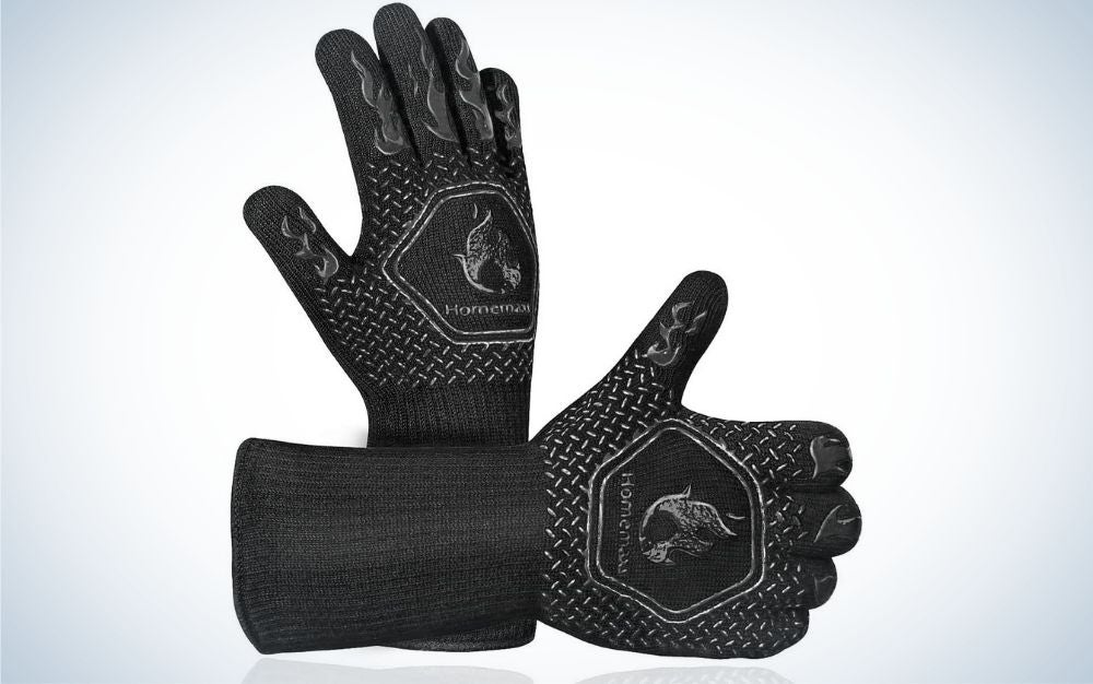 Homemaxs Extreme Heat-Resistant Grill Gloves are one of the best grill accessories for hands-on cooking.