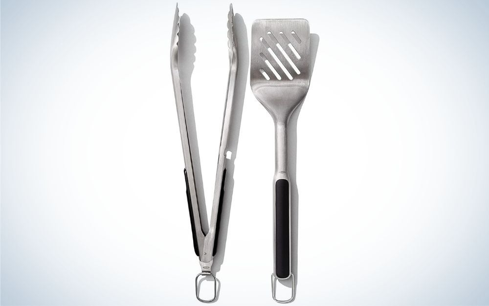 The OXO Good Grips Grilling Tools Set is one of the best grill accessories for campers.