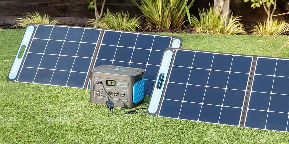 Solar panels in grass