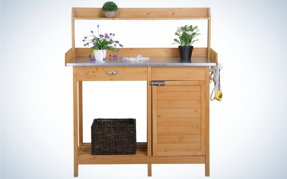 The YAHEETECH Outdoor Potting Bench Table is the best bench and sink combination.