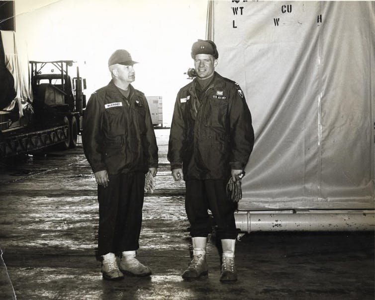 Army service men at the Thule Air Base with a nuclear reactor during the Cold War
