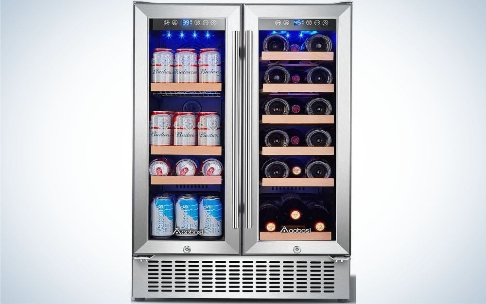 The Aobosi Beverage and Wine Cooler is the best beverage cooler for home bartenders.