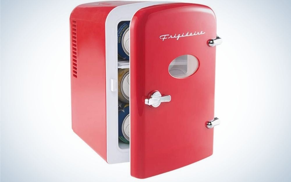 The Frigidaire EFMIS129-RED Mini Portable Fridge Cooler is the best beverage cooler for office workers.