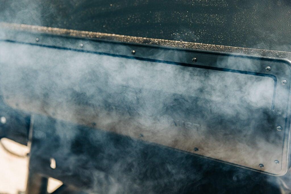 Smoke from a pellet grill by Traegar