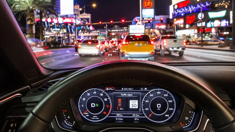 Audi's in-car traffic light information technology.