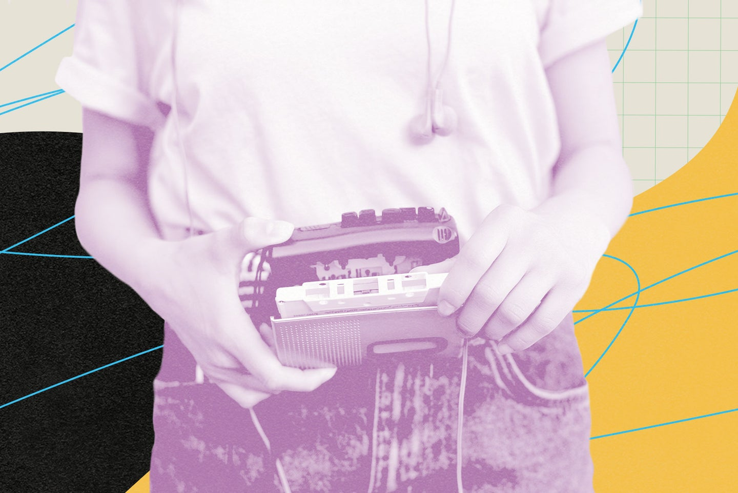 Person inserting cassette in cassette player.