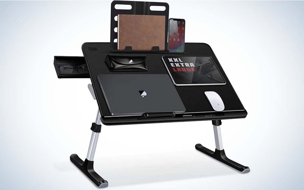 The SAIJI Adjustable Lap Dest is the best folding lap desk.