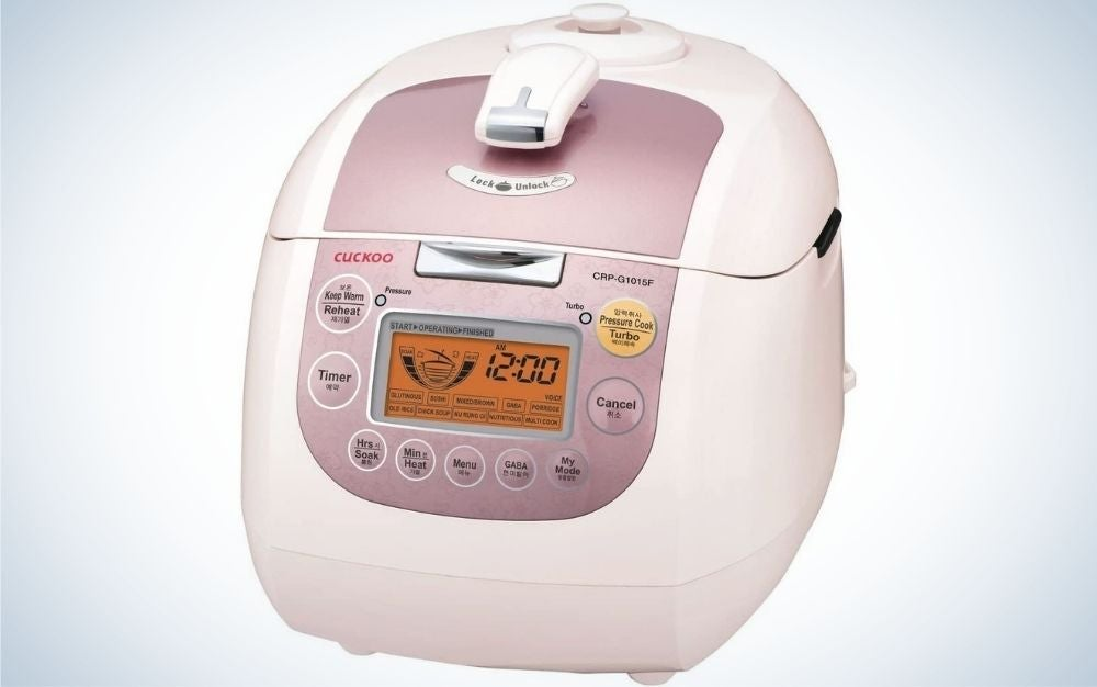 The Cuckoo CRO-G1015F Heating Plate Press Rice cooker is our premium pick.