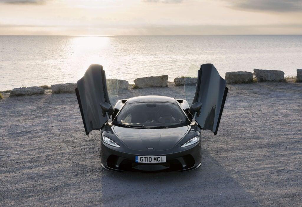 A McLaren GT with its doors open