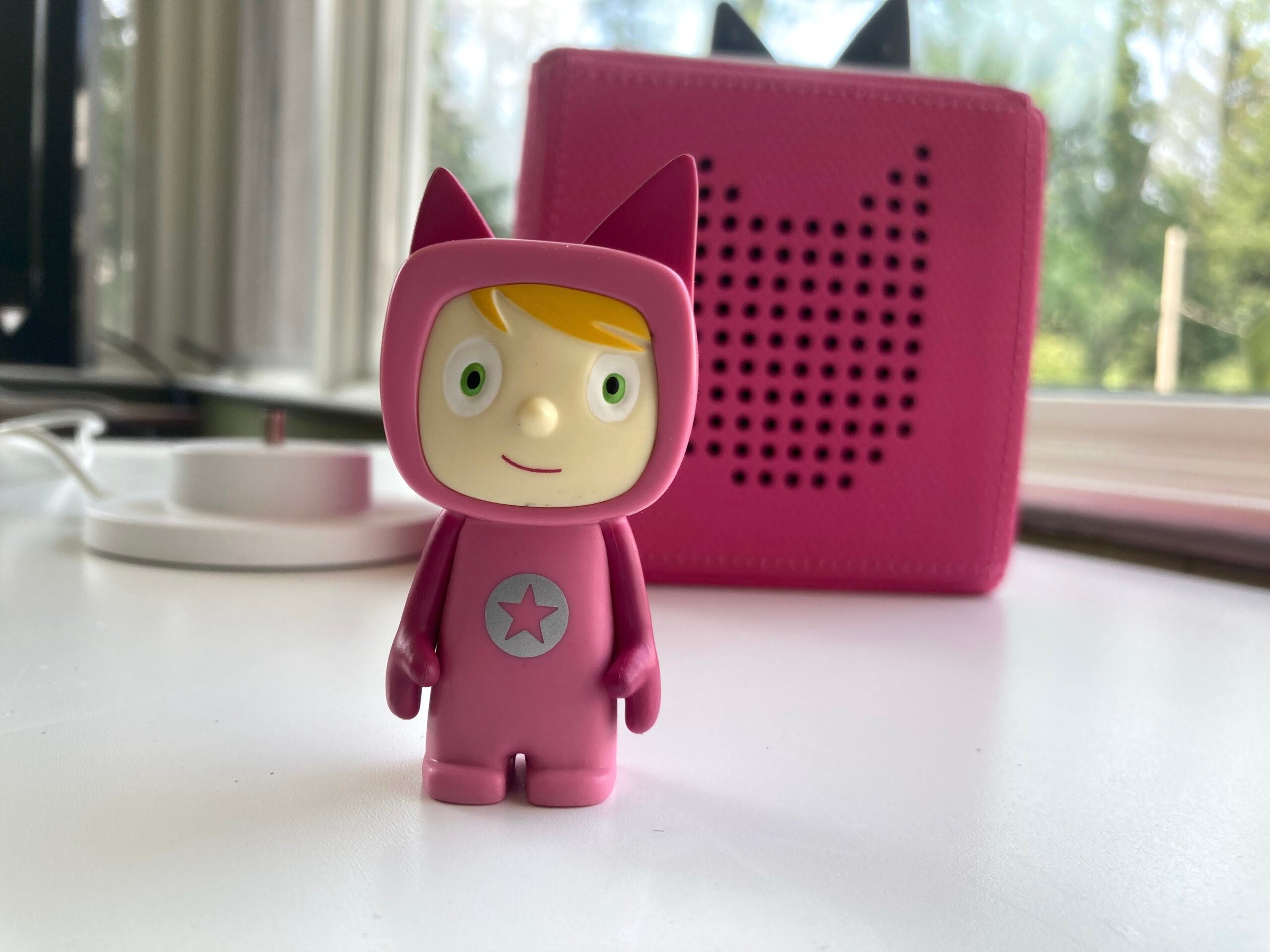 pink toniebox with character