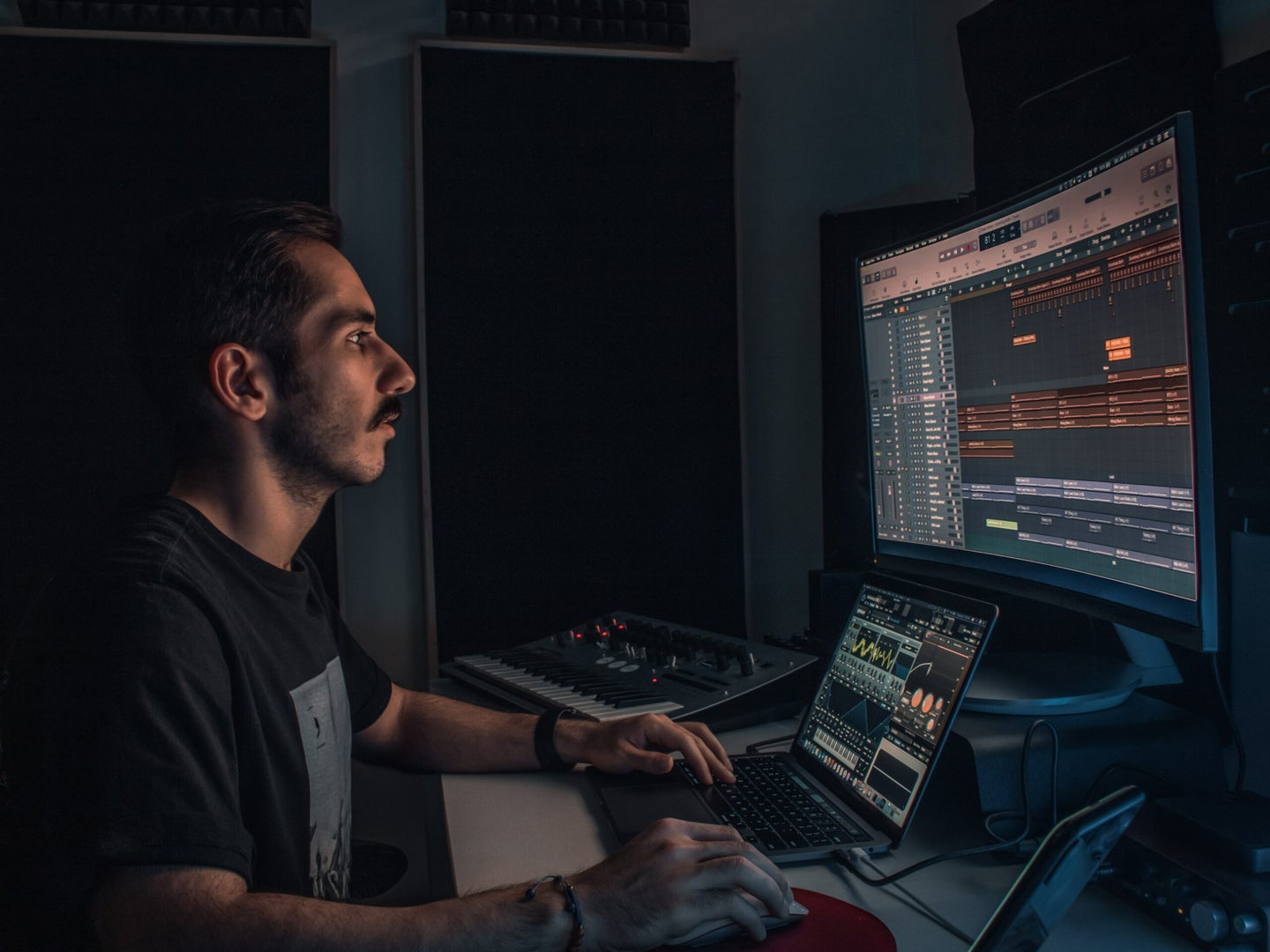 producer in home studio