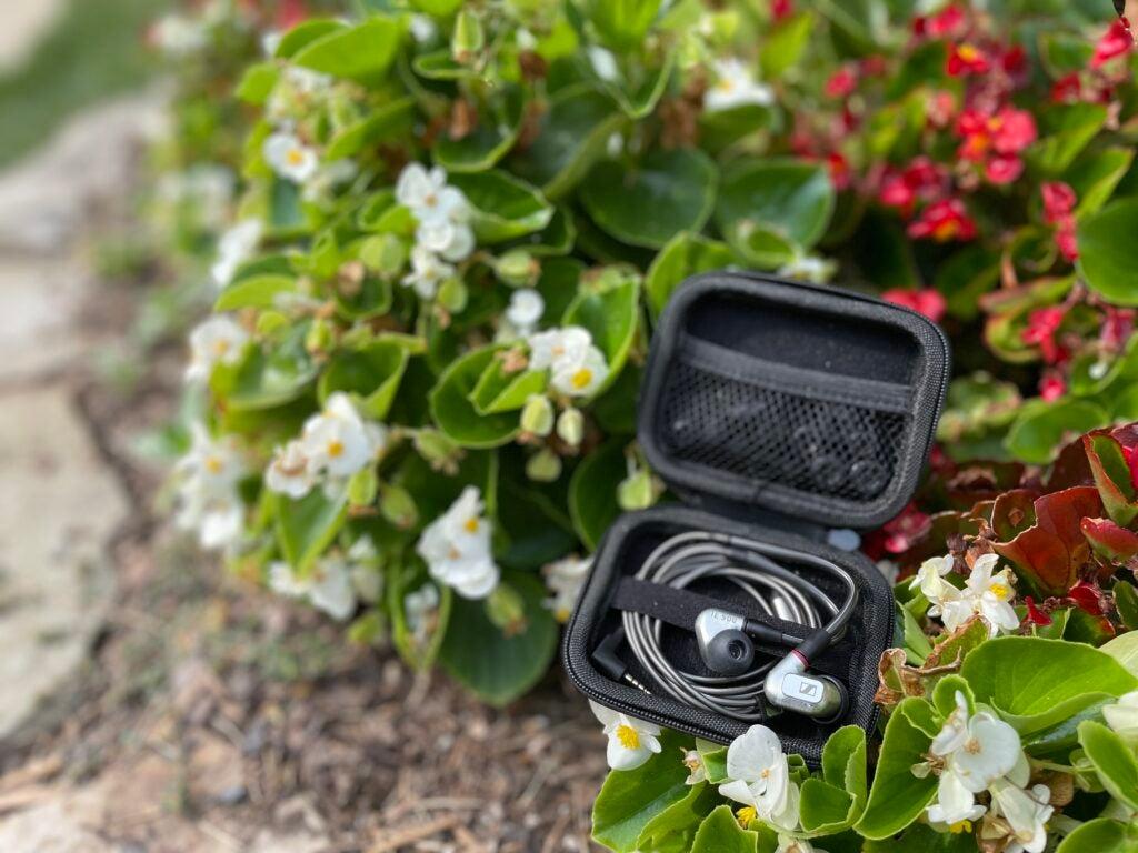 Sennheiser IE 900 in case on flowers