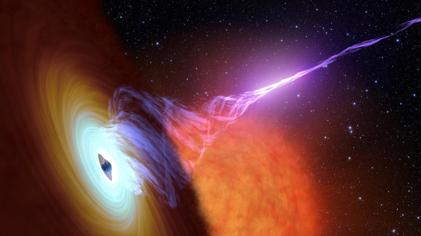 An artist's depiction of a black hole with an accretion disk, a flat structure of material orbiting the black hole, and a jet of hot gas launching out from the center, called plasma.
