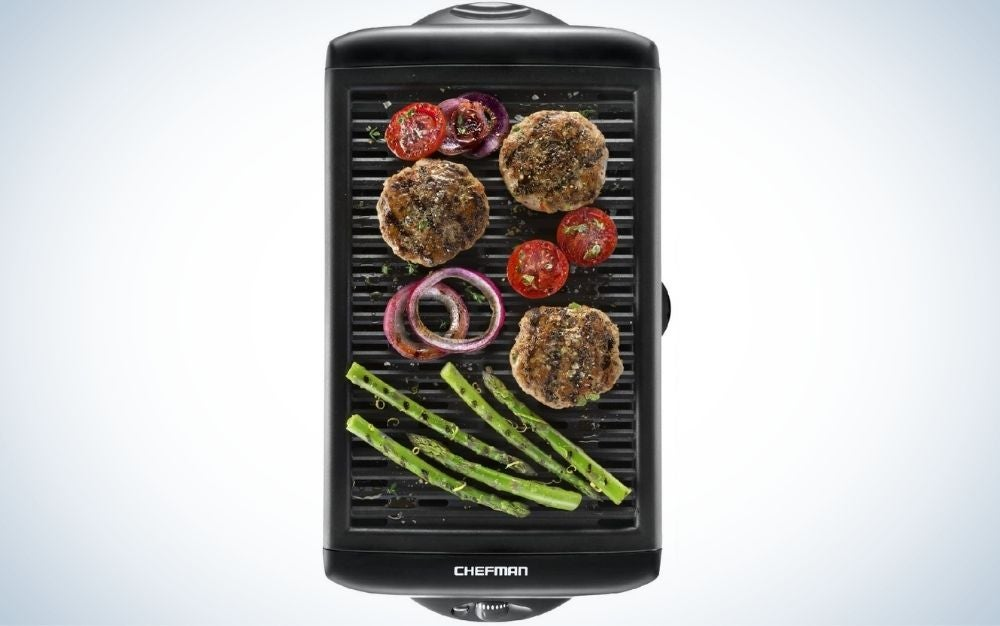 The Chefman Electric Smokeless Indoor Grill is the best indoor grill for big families.