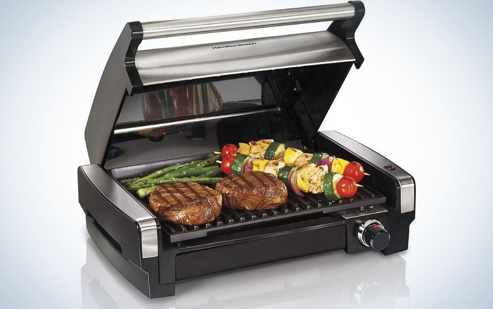 The Hamilton Beach Electric Indoor Searing Grill is our runner up for best indoor grill.