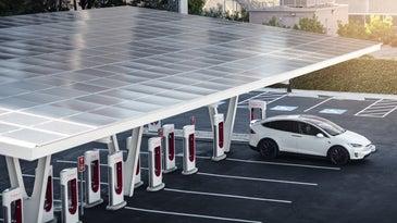 Tesla supercharging station.