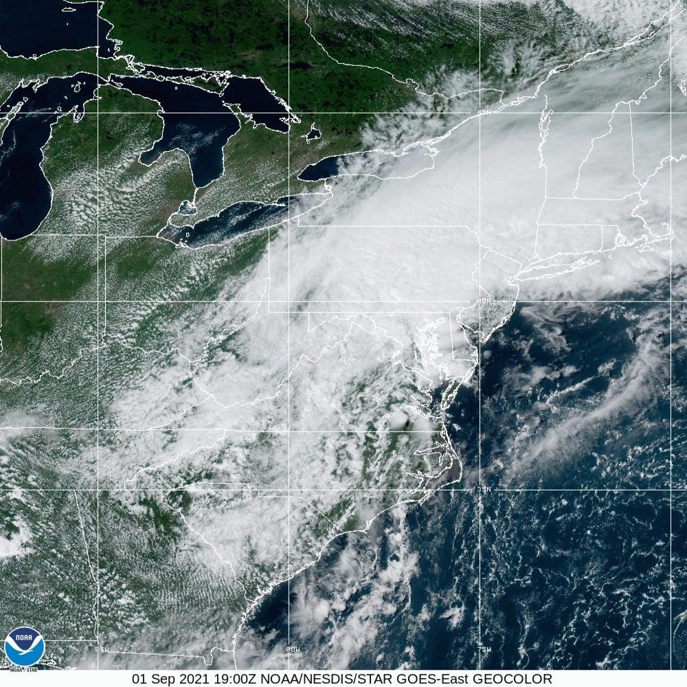 satellite view of what remains of hurricane ida
