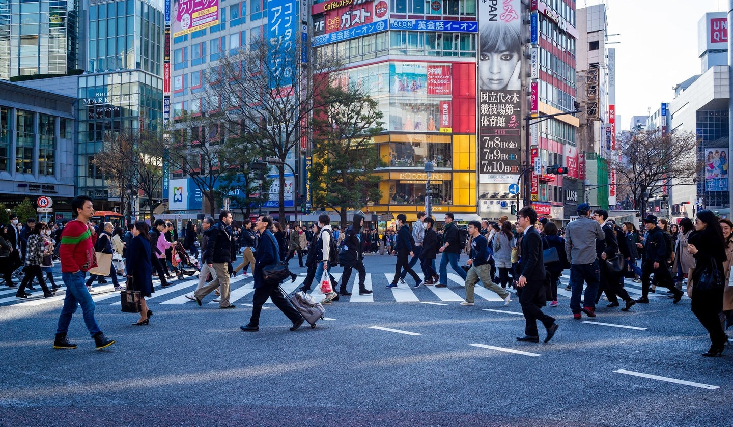 Busy intersection in Tokyo, Japan.