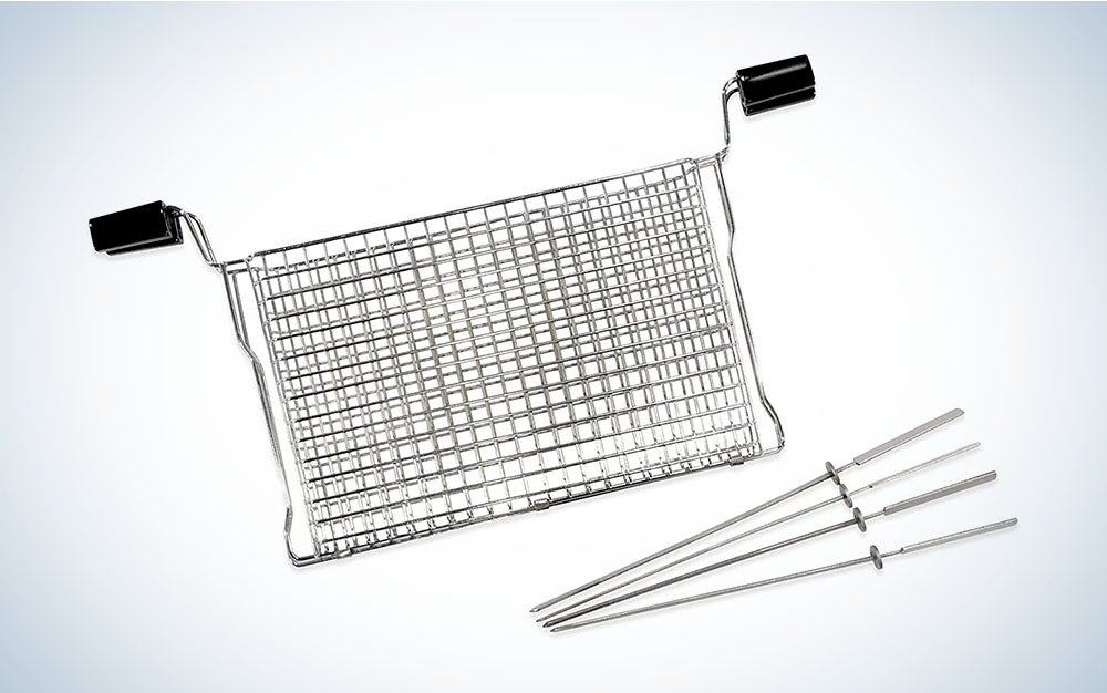 The Ronco Ready Grill All Purpose Basket with Kabobs is the best budget grill basket.